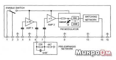 Схема микросборки приемника и передатчика аудиосигналов.